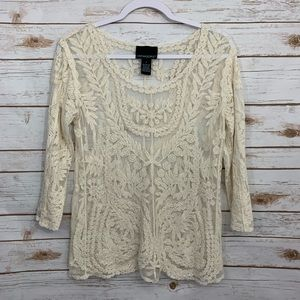 Cynthia Rowley Embroidered Ivory Sheer Blo…